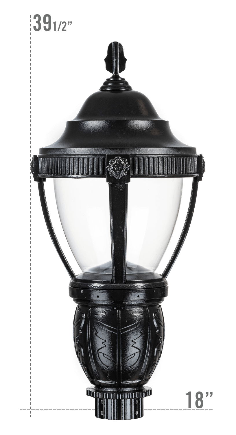 AUGUSTA LED LUMINAIRE WITH DELRAY FITTER CLEAR GLOBE