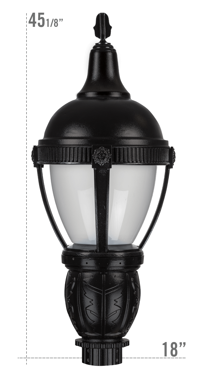THE ROUND ROOF AUGUSTA LED LUMINAIRE WITH DELRAY FITTER FROSTED GLOBE