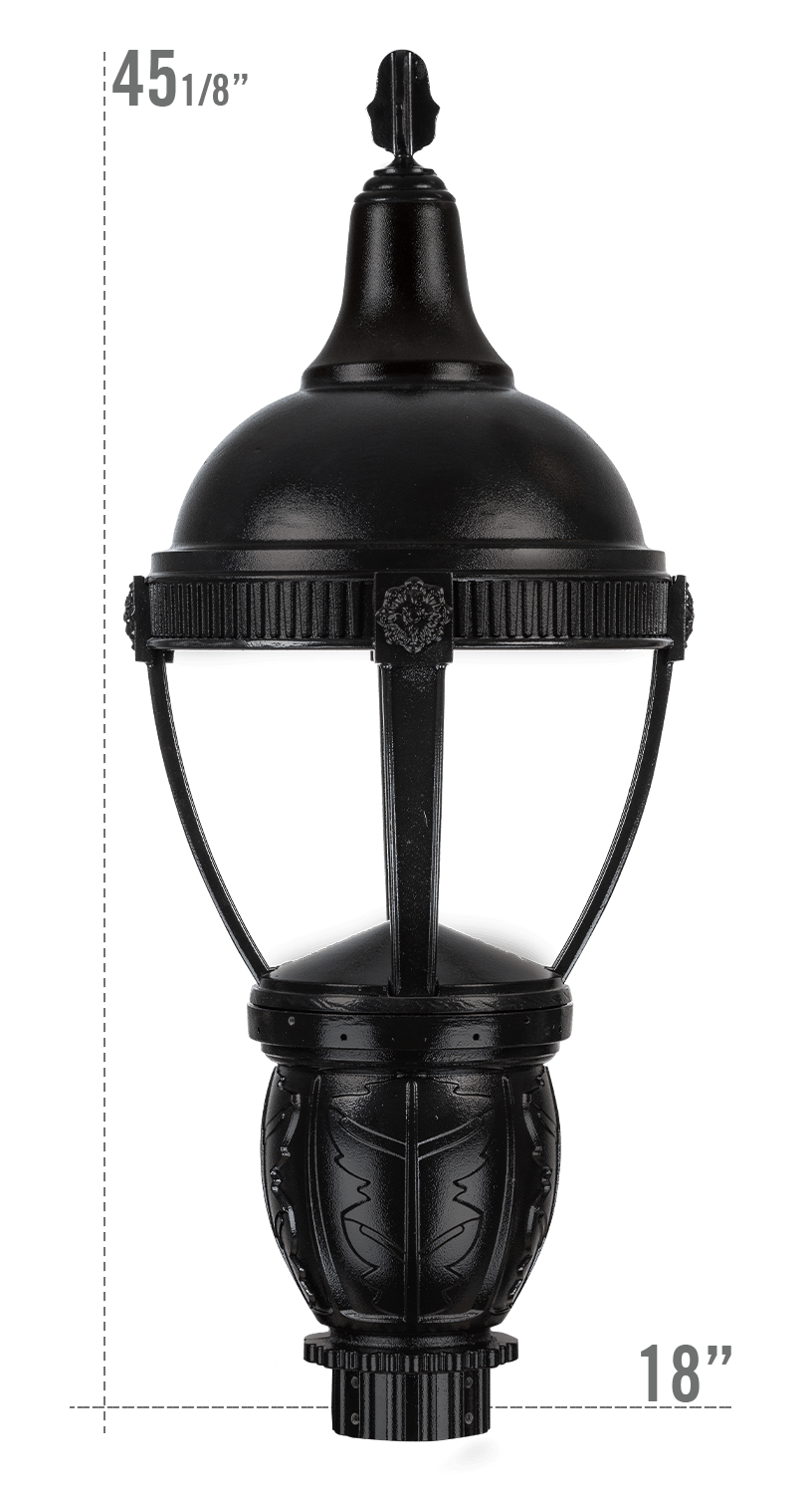 THE ROUND ROOF AUGUSTA LED LUMINAIRE WITH DELRAY FITTER DARK SKY