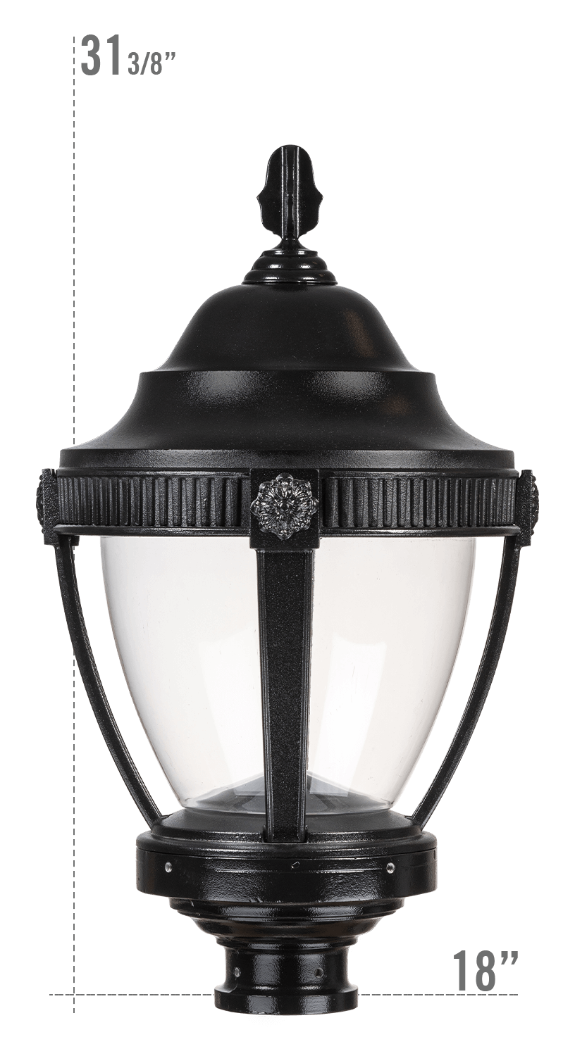 AUGUSTA LED LUMINAIRE WITH DUNMORE FITTER CLEAR GLOBE