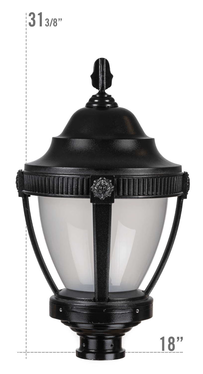 AUGUSTA LED LUMINAIRE WITH DUNMORE FITTER FROSTED GLOBE
