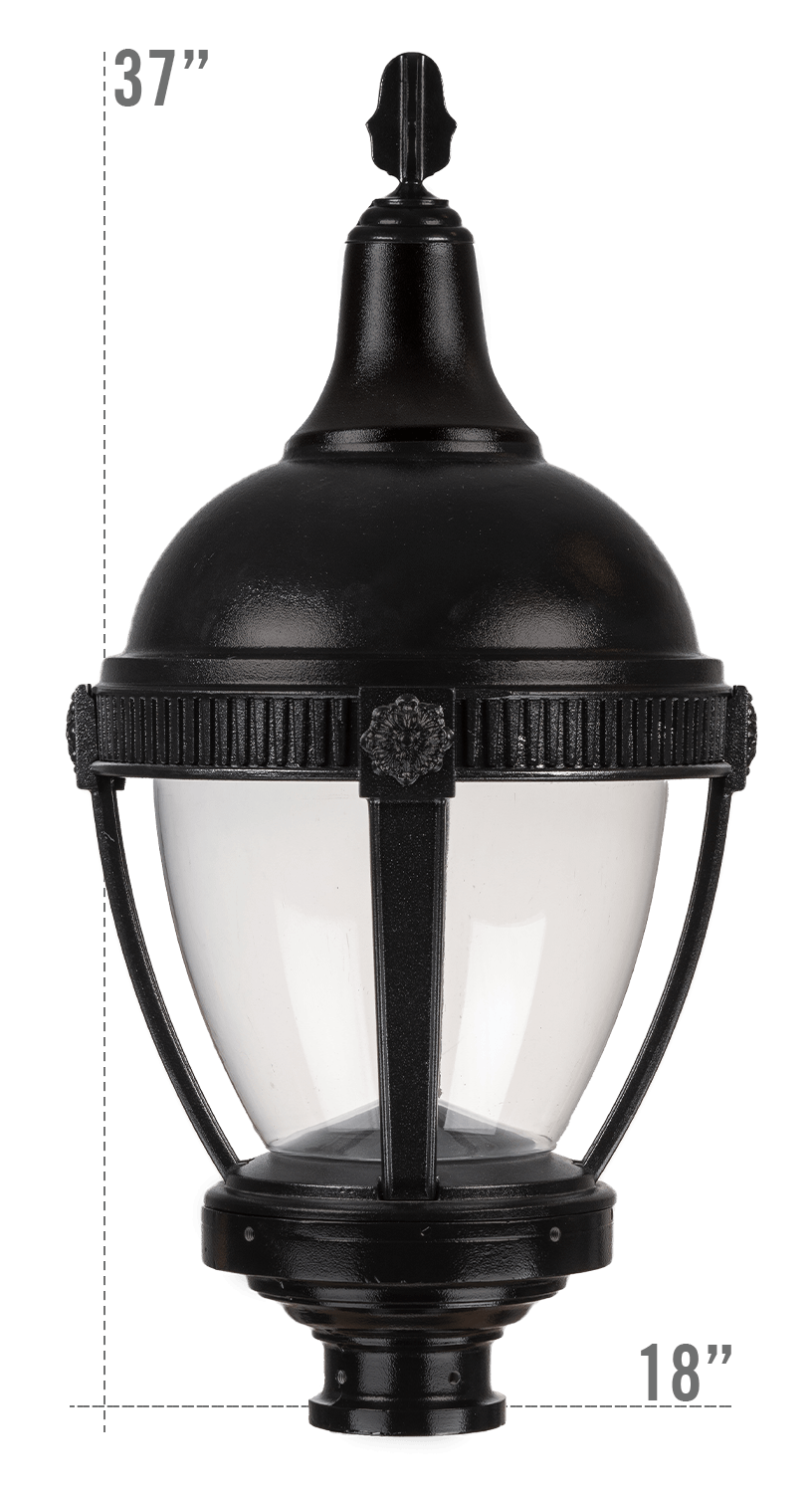 THE ROUND ROOF AUGUSTA LED LUMINAIRE WITH DUNMORE FITTER CLEAR GLOBE