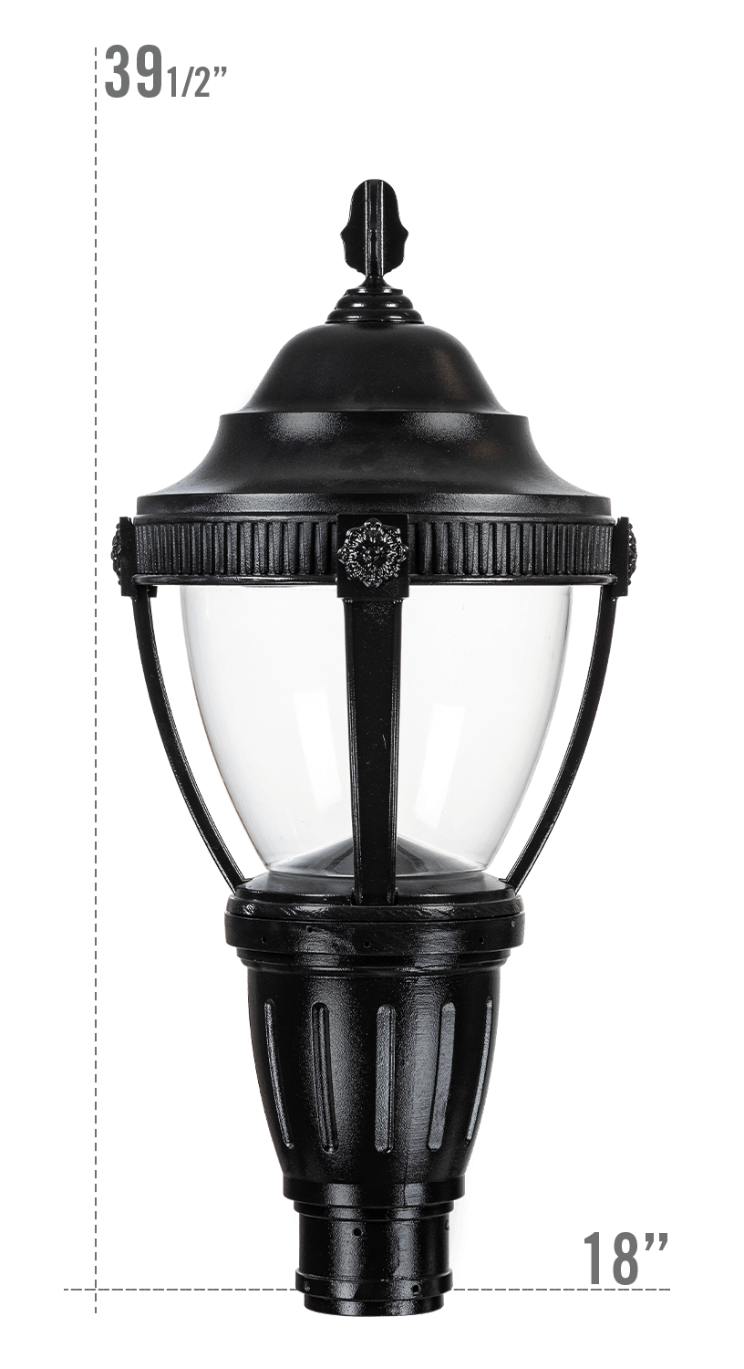 AUGUSTA LED LUMINAIRE WITH KEYWEST FITTER CLEAR GLOBE