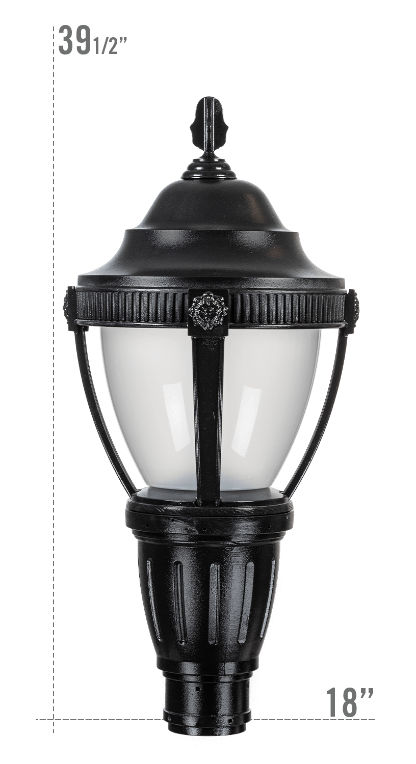 AUGUSTA LED LUMINAIRE WITH KEYWEST FITTER FROSTED GLOBE