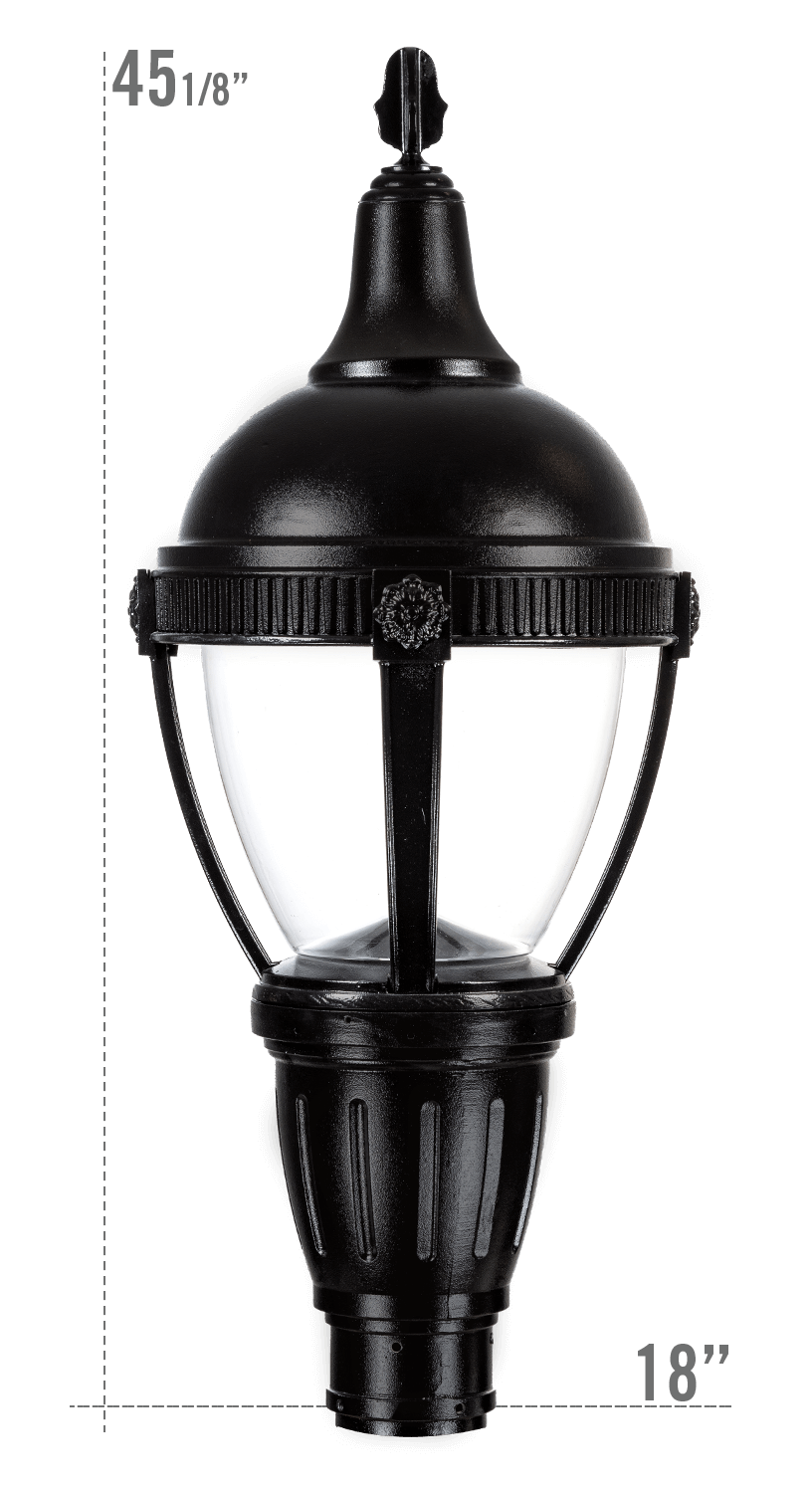 THE ROUND ROOF AUGUSTA LED LUMINAIRE WITH KEYWEST FITTER CLEAR GLOBE