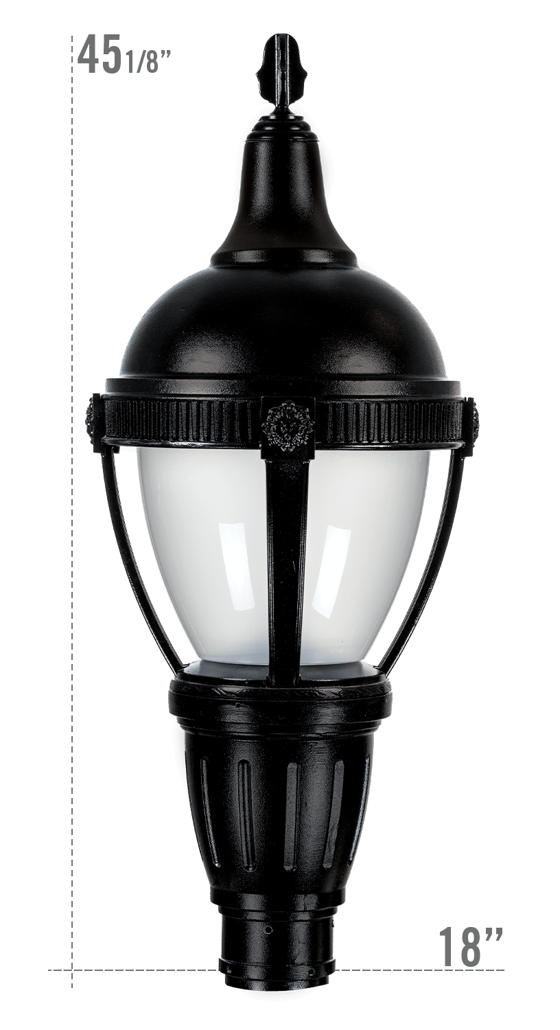 THE ROUND ROOF AUGUSTA LED LUMINAIRE WITH KEYWEST FITTER FROSTED GLOBE