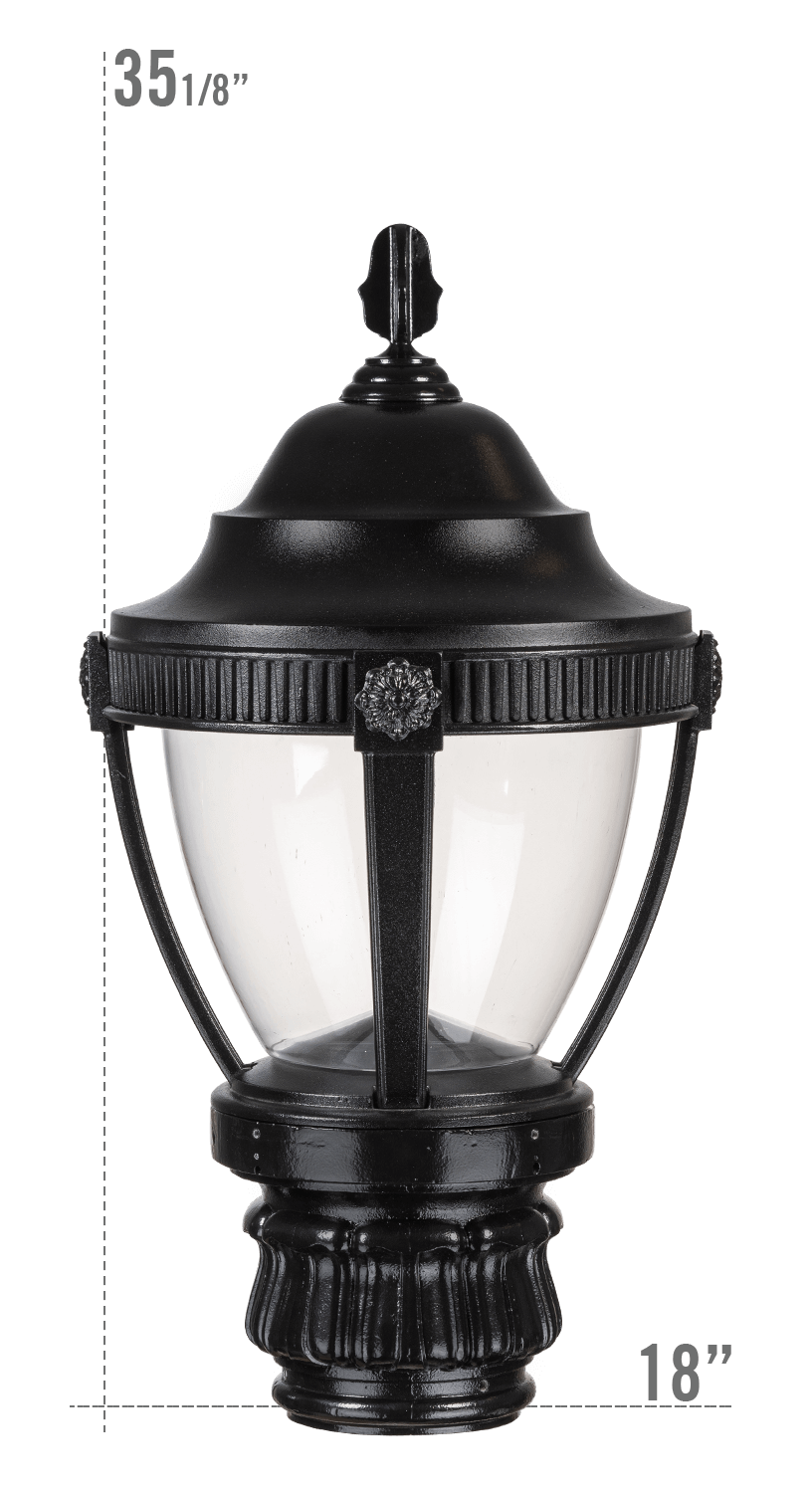 AUGUSTA LED LUMINAIRE WITH MERIDEN FITTER CLEAR GLOBE