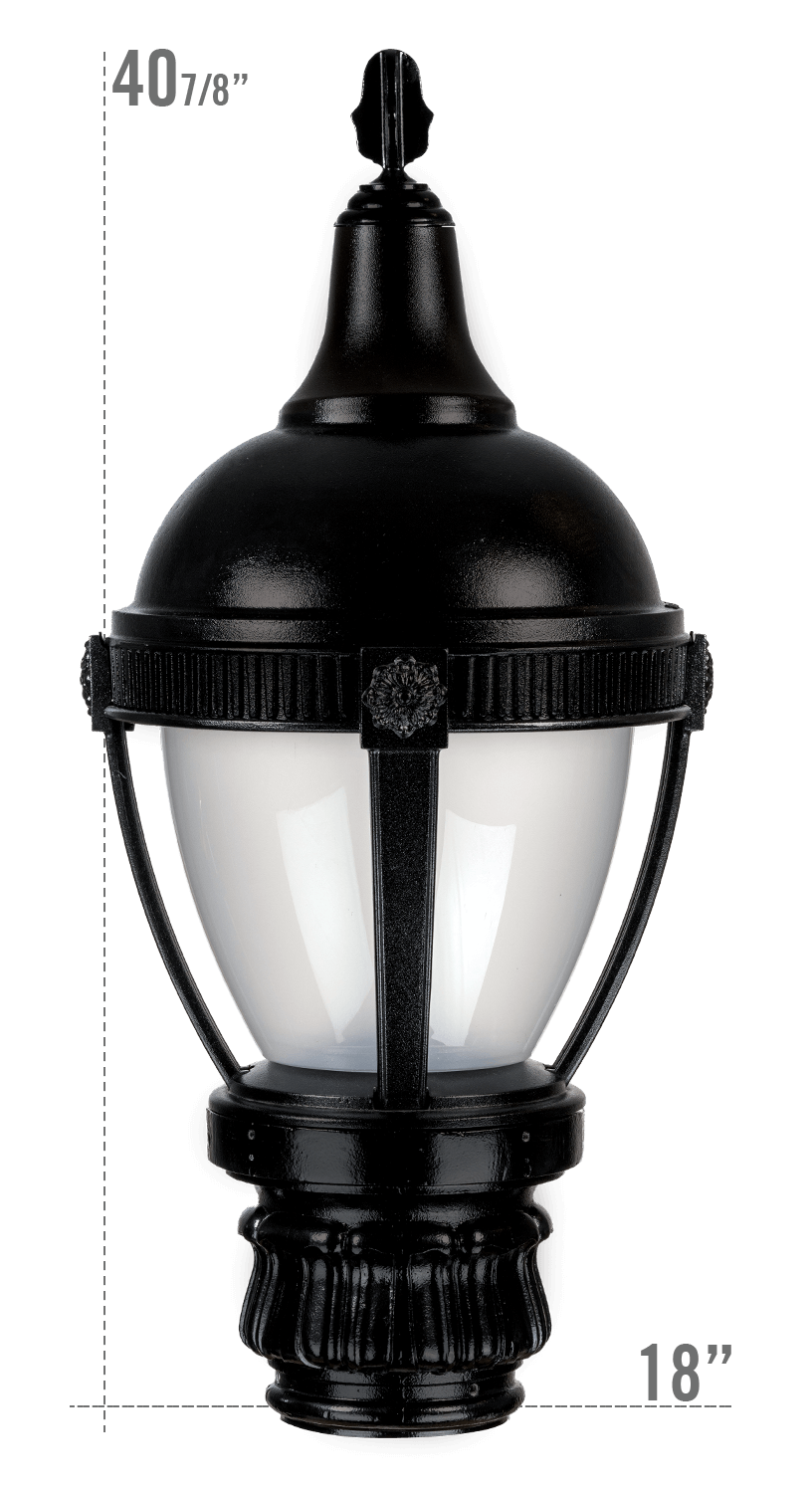 THE ROUND ROOF AUGUSTA LED LUMINAIRE WITH MERIDEN FITTER FROSTED GLOBE