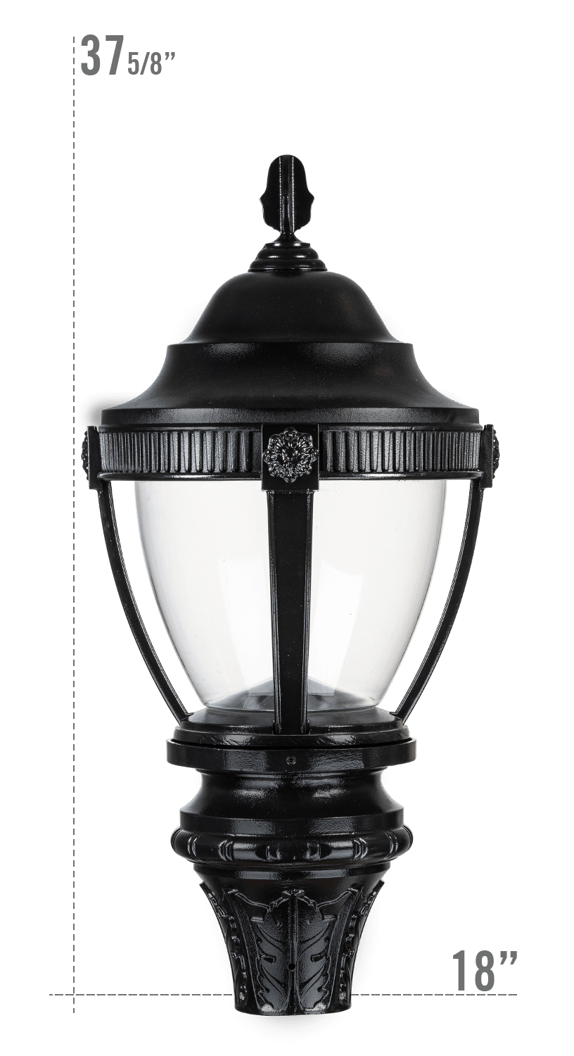 AUGUSTA LED LUMINAIRE WITH NEW FRONTIER FITTER CLEAR GLOBE