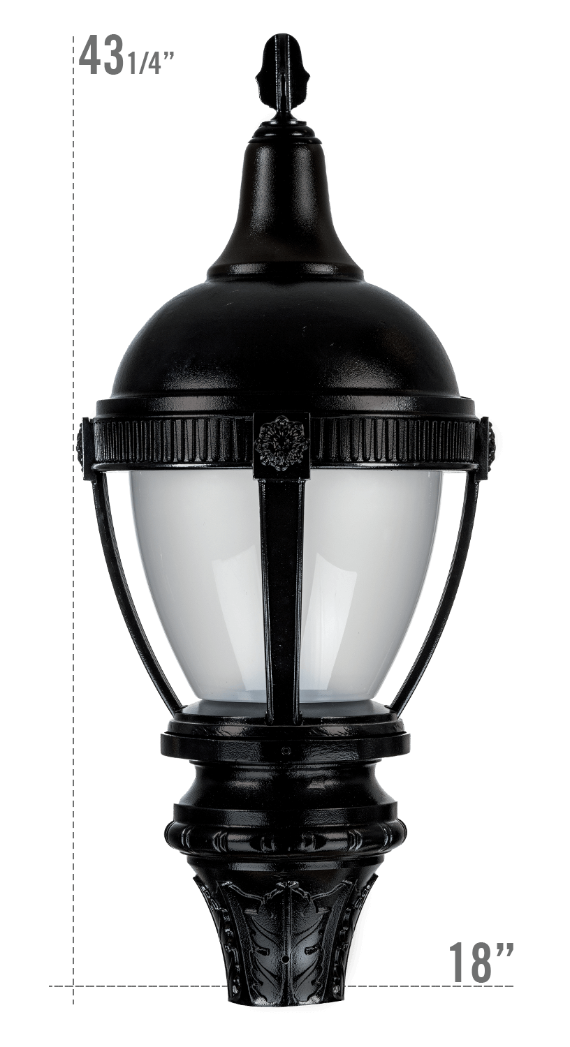 THE ROUND ROOF AUGUSTA LED LUMINAIRE WITH NEW FRONTIER FITTER FROSTED GLOBE