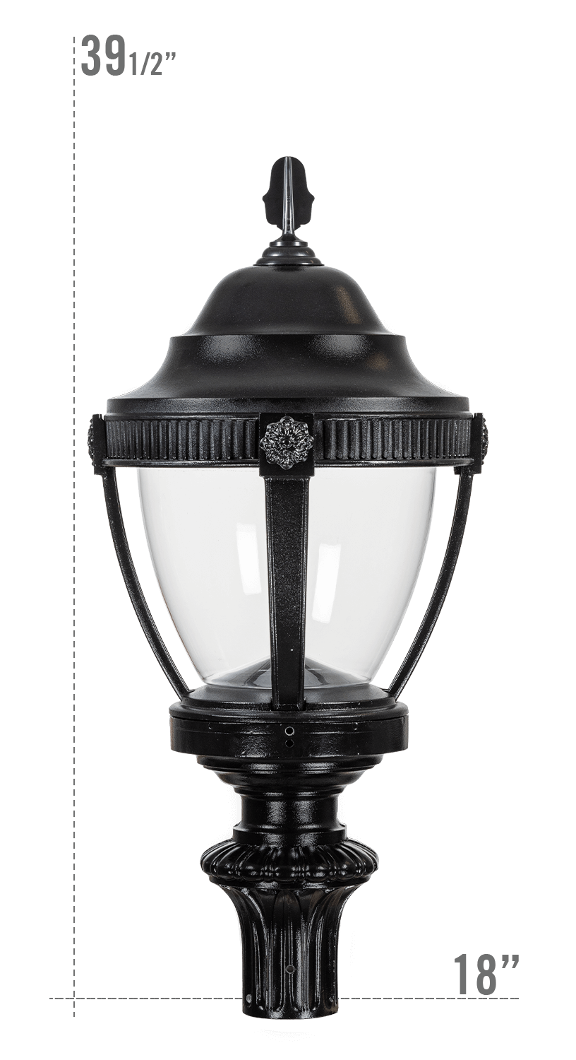 AUGUSTA LED LUMINAIRE WITH WASHINGTON FITTER CLEAR GLOBE