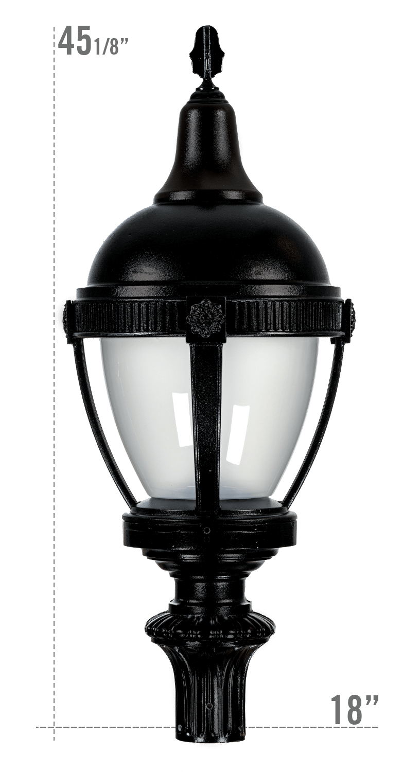 THE ROUND ROOF AUGUSTA LED LUMINAIRE WITH WASHINGTON FITTER FROSTED GLOBE