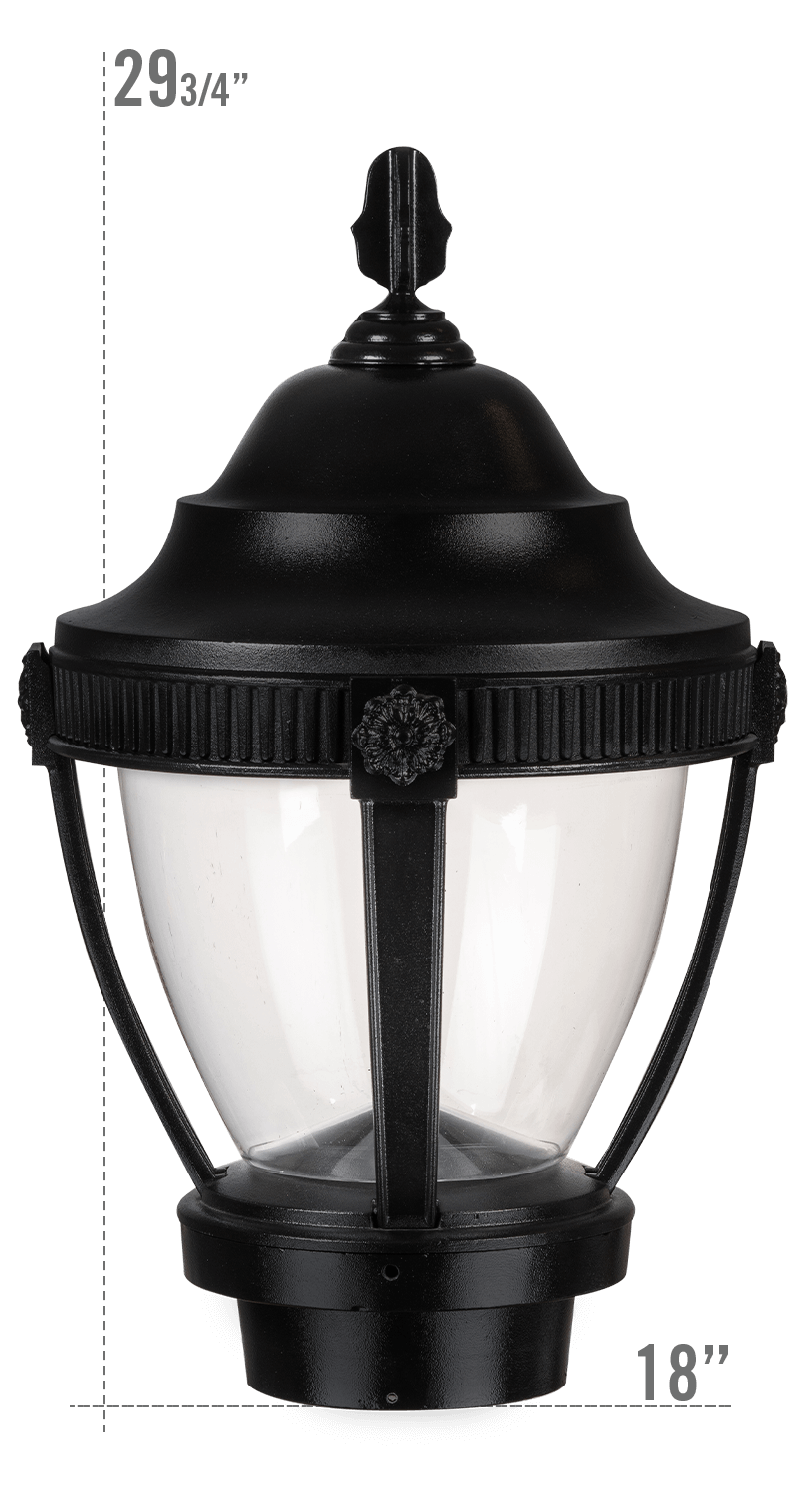 AUGUSTA LED LUMINAIRE WITH VILLANOVA LARGE FITTER CLEAR GLOBE