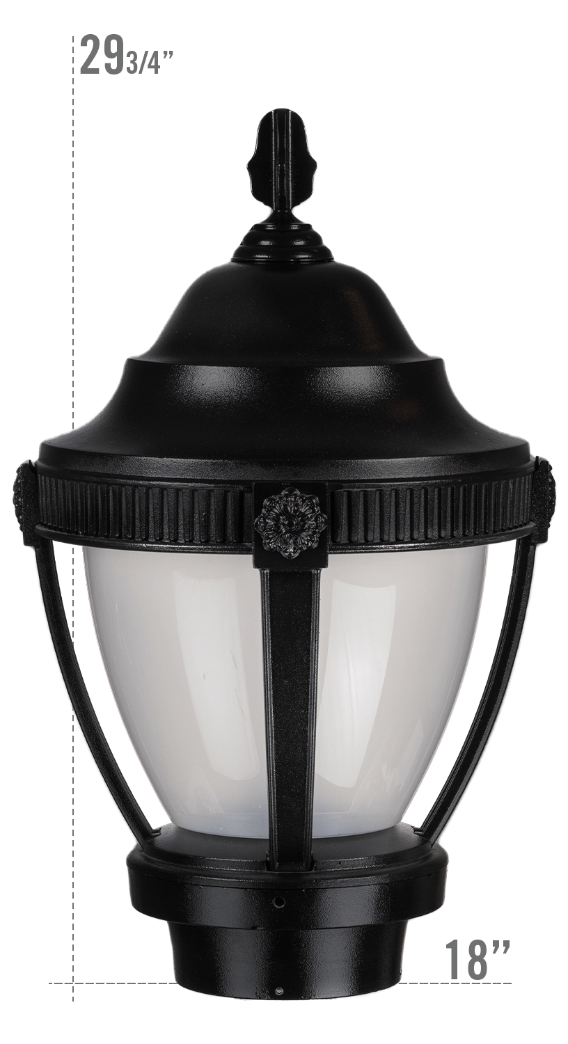 AUGUSTA LED LUMINAIRE WITH VILLANOVA LARGE FITTER FROSTED GLOBE