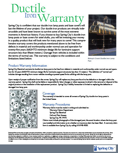 Ductile Iron Warranty